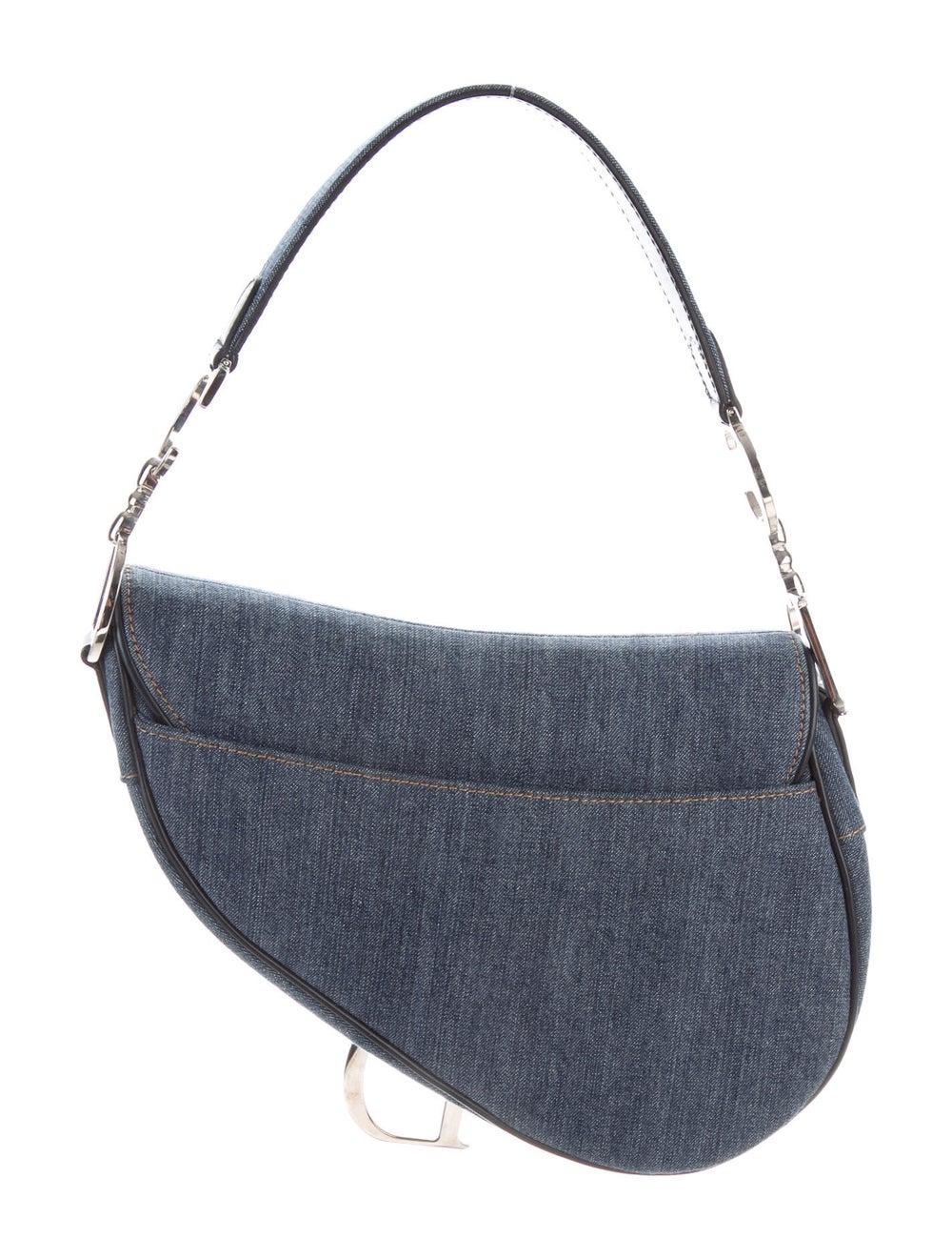 Christian Dior Embellished Denim Saddle Bag Blue - image 4