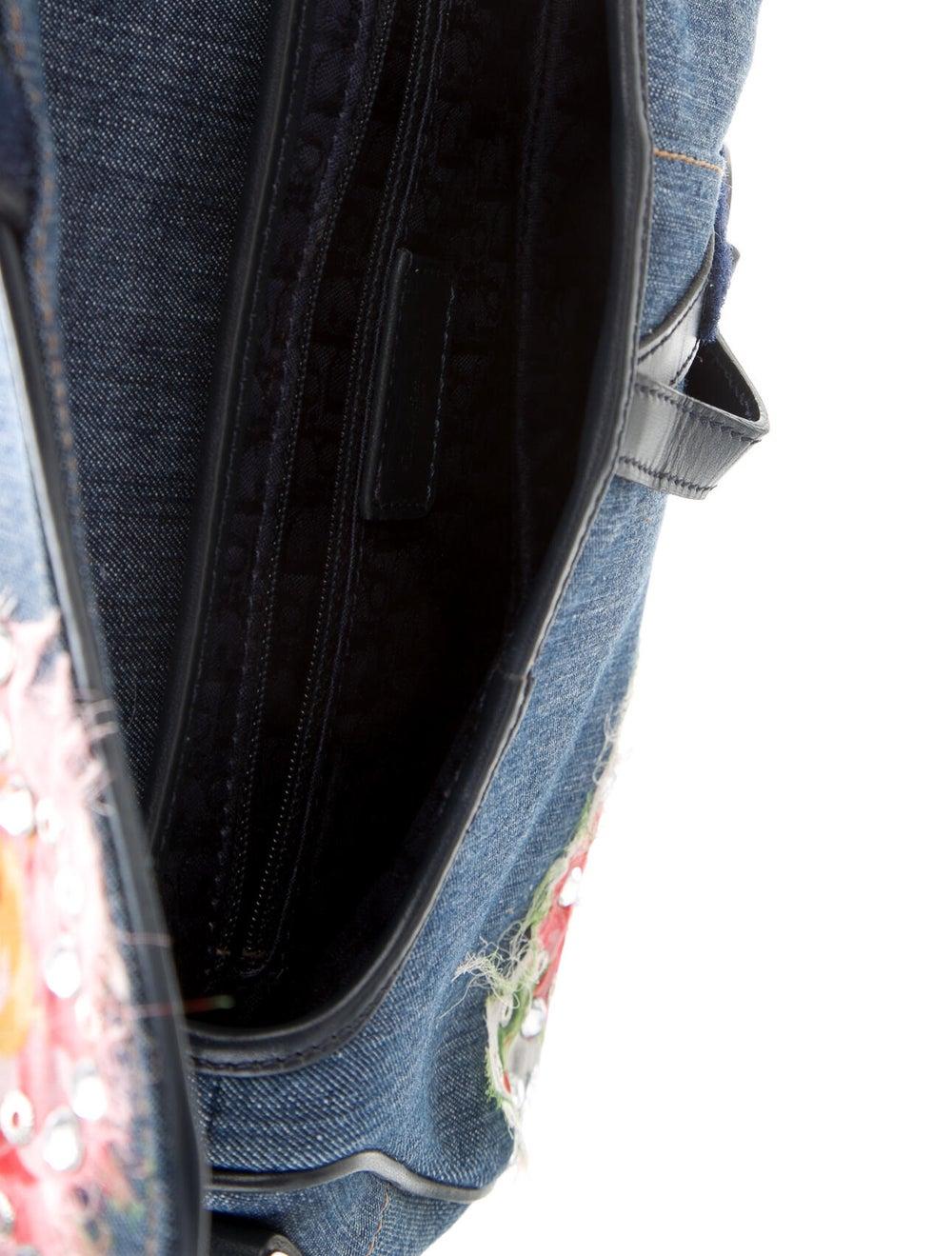 Christian Dior Embellished Denim Saddle Bag Blue - image 5