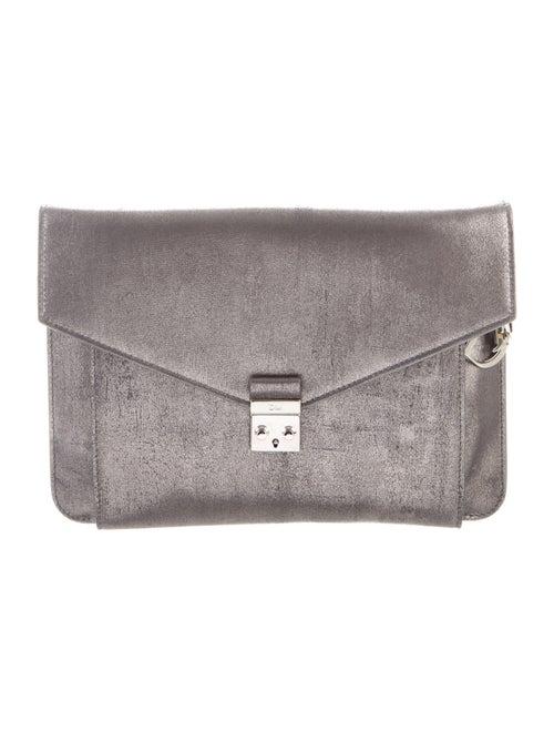 Christian Dior Metallic Leather Clutch Grey