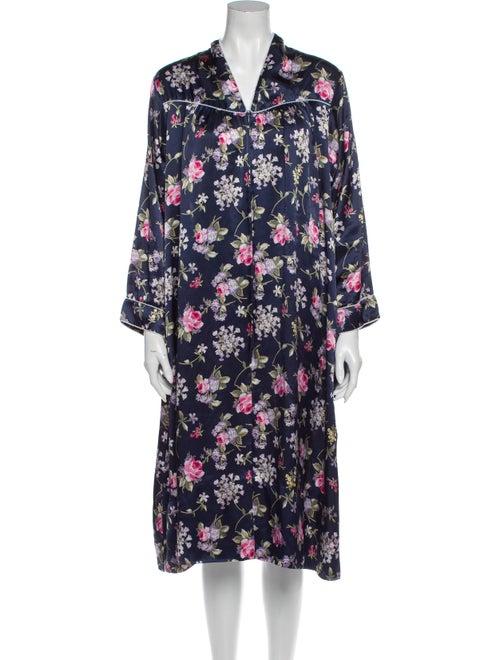 Christian Dior Floral Print Nightgown Blue