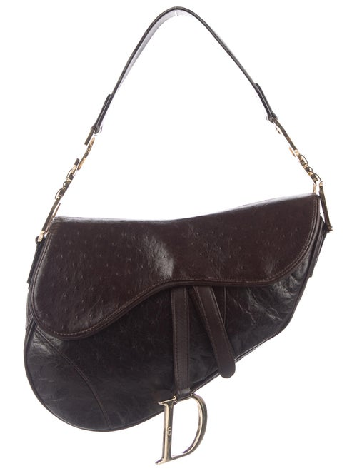 Christian Dior Ostrich Saddle Bag Brown