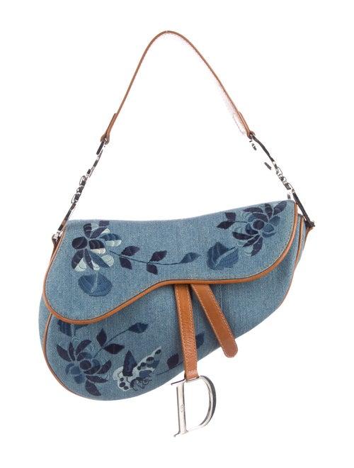 Christian Dior Denim Saddle Bag Blue