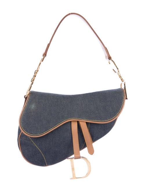 Christian Dior Vintage Denim Saddle Bag Blue