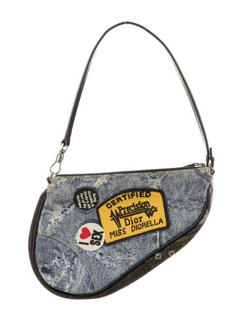 Christian Dior Denim Mini Saddle Bag Blue