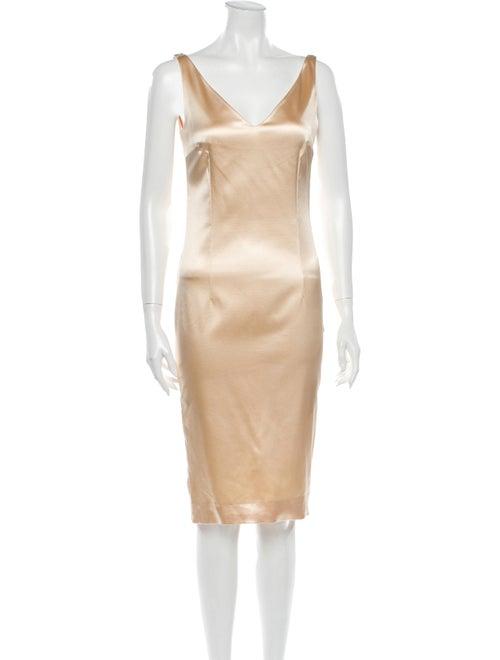 Christian Dior V-Neck Knee-Length Dress