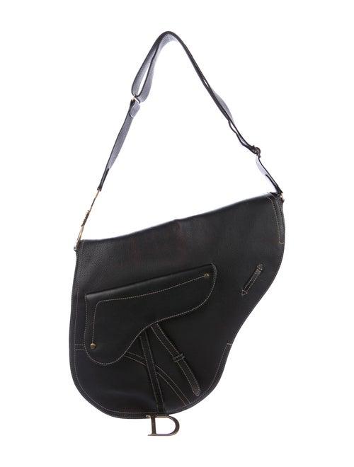 Christian Dior Large Baudrier Saddle Bag Black