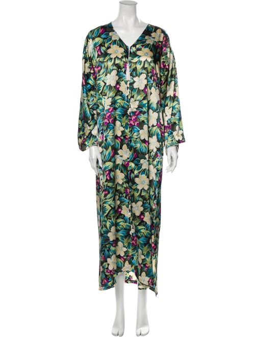 Christian Dior Vintage Floral Print Nightgown Gree
