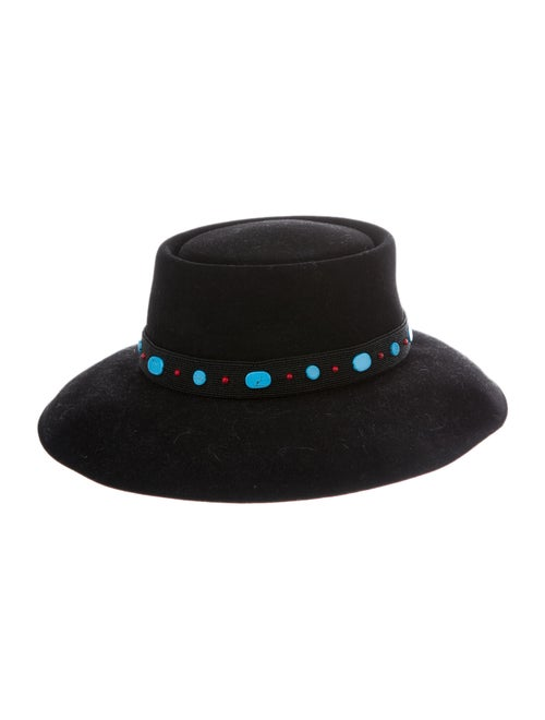 Christian Dior 2018 Embellished Fedora Hat Black