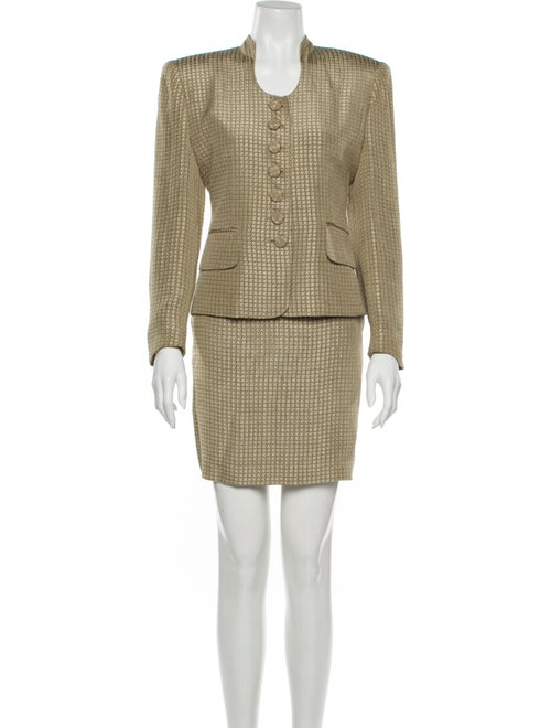 Christian Dior Houndstooth Print Skirt Suit