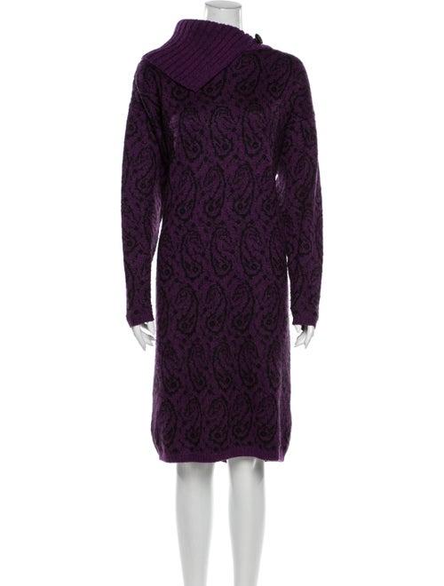 Christian Dior Printed Midi Length Dress Purple