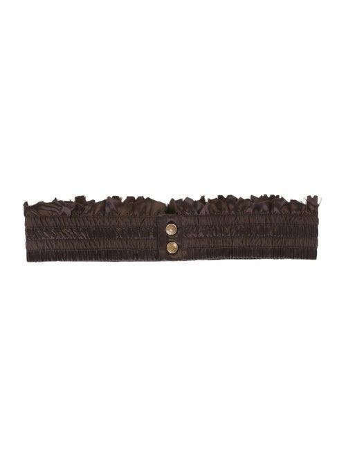 Christian Dior Pleated Silk Belt Brown
