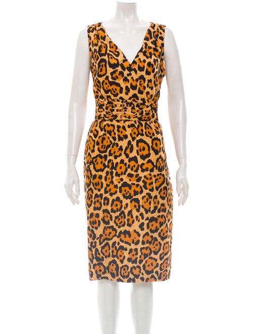 Christian Dior Silk Leopard Print Dress black