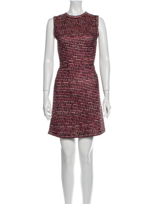 Christian Dior Striped Mini Dress Red