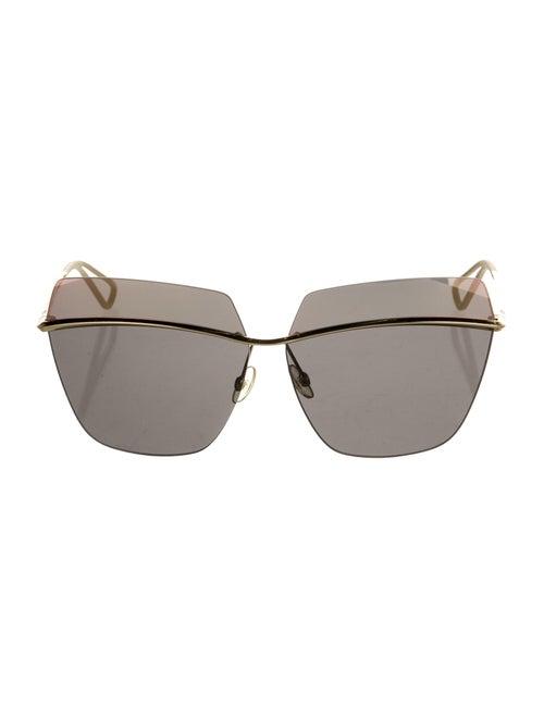 Christian Dior Metallic Square Sunglasses Gold