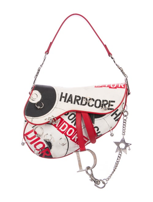Christian Dior Hardcore Pierced Saddle Bag White