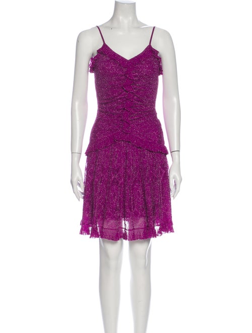Christian Dior Lace Pattern Mini Dress Metallic