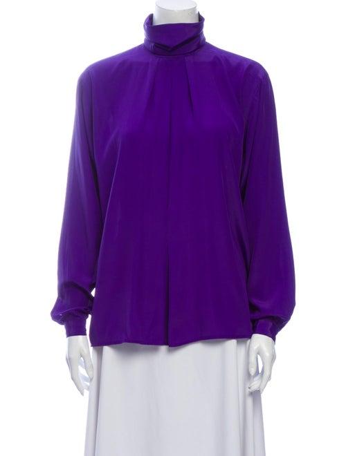 Christian Dior Vintage Mock Neck Blouse Purple