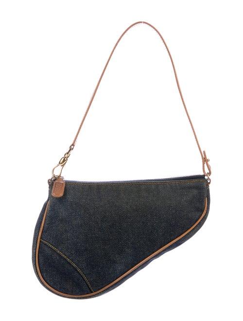 Christian Dior Mini Denim Saddle Pochette Blue