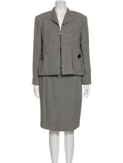 Christian Dior Houndstooth Print Skirt Suit Black