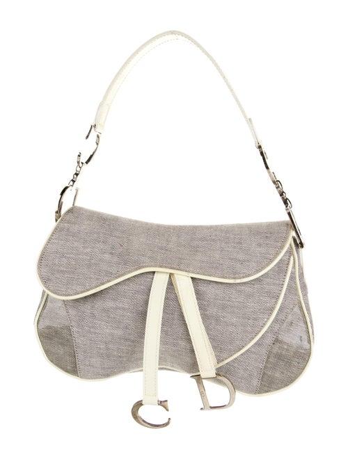 Christian Dior Denim Double Saddle Bag Grey