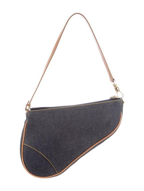 Christian Dior Denim Saddle Pochette Blue