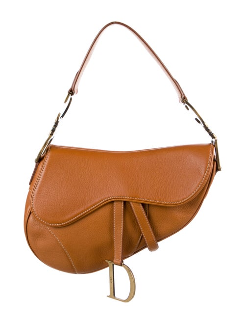 Christian Dior Leather Saddle Bag Brown