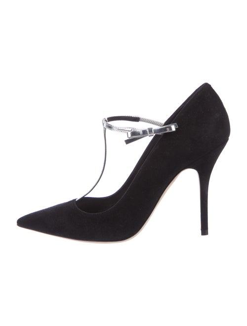 Christian Dior Coquette Suede T-Strap Pumps Black