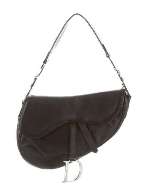 Christian Dior Leather Saddle Bag Black