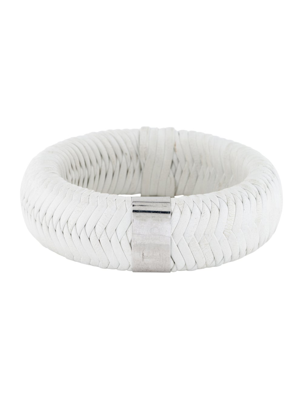 Christian Dior Woven Leather Logo Bangle Silver - image 1