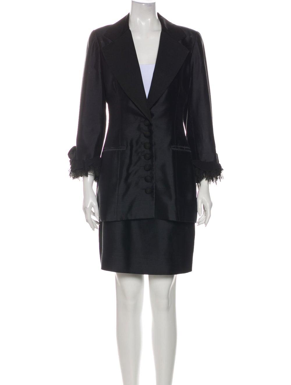 Christian Dior Vintage 1980's Skirt Suit Black - image 1