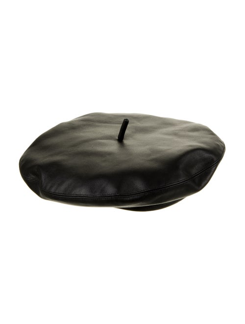 Christian Dior Leather Beret Hat Black