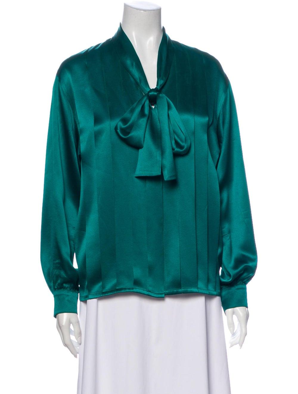 Christian Dior Vintage Silk Blouse Green - image 1