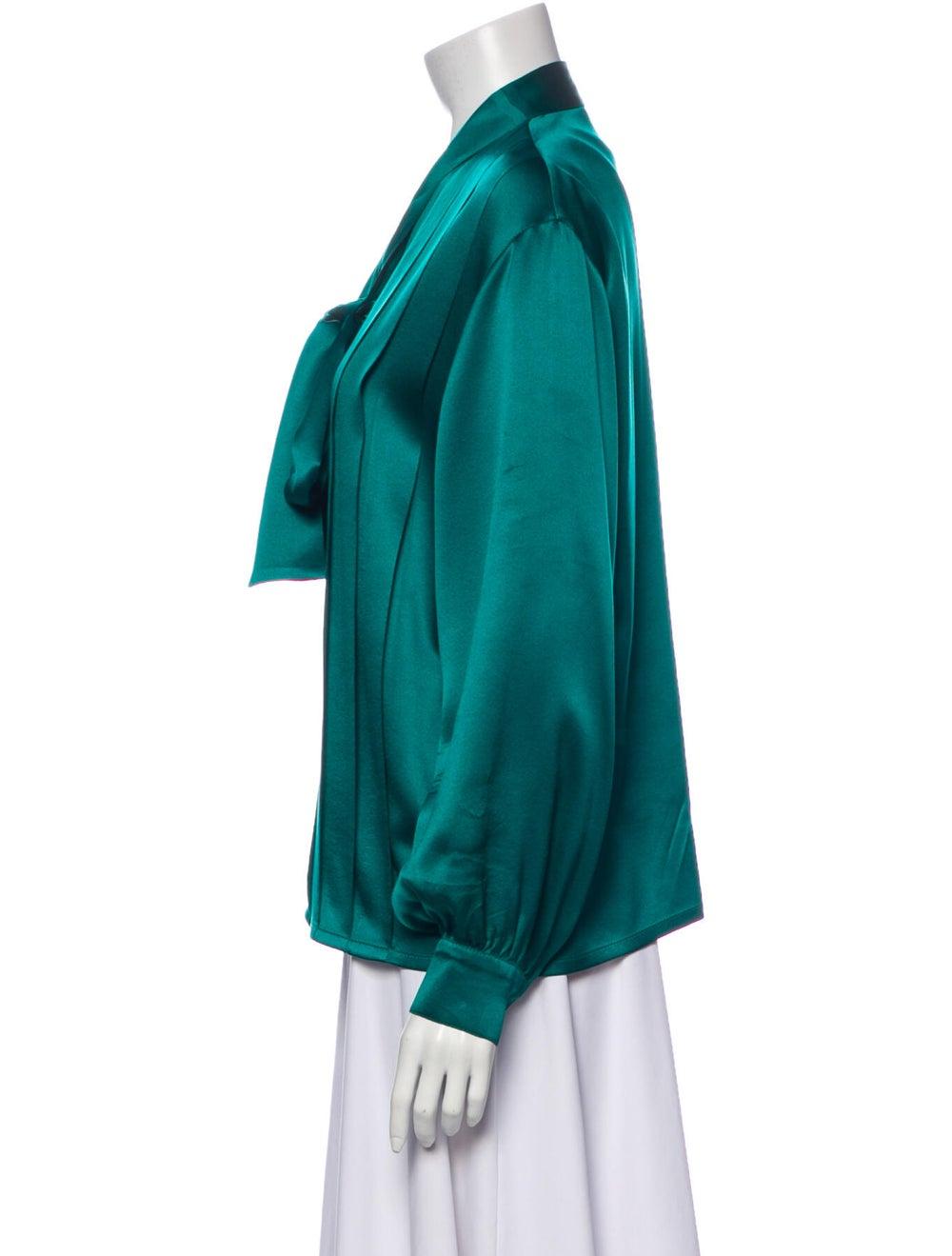 Christian Dior Vintage Silk Blouse Green - image 2