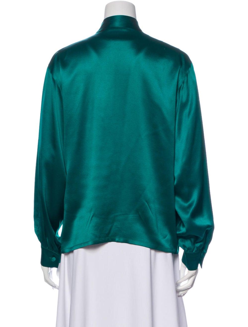 Christian Dior Vintage Silk Blouse Green - image 3