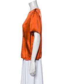 Christian Dior Silk Crew Neck Blouse