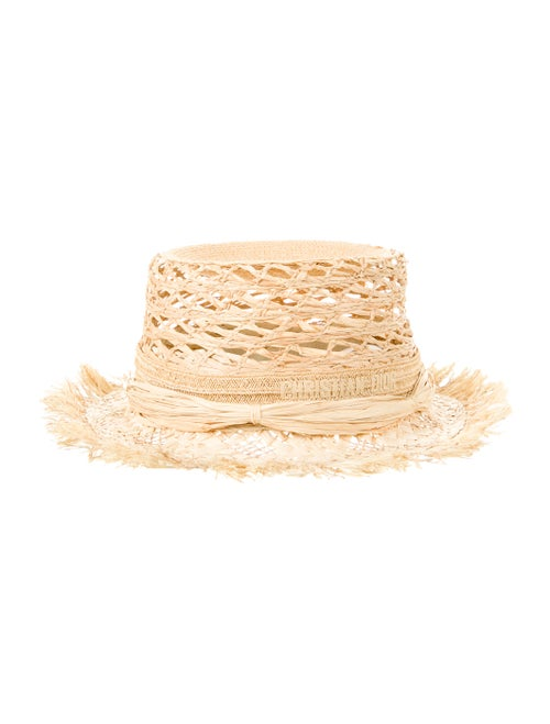 Christian Dior Jardin Raffia Hat Tan