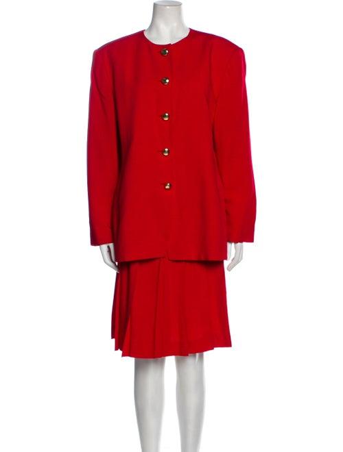 Christian Dior Vintage 1980's Skirt Suit Red