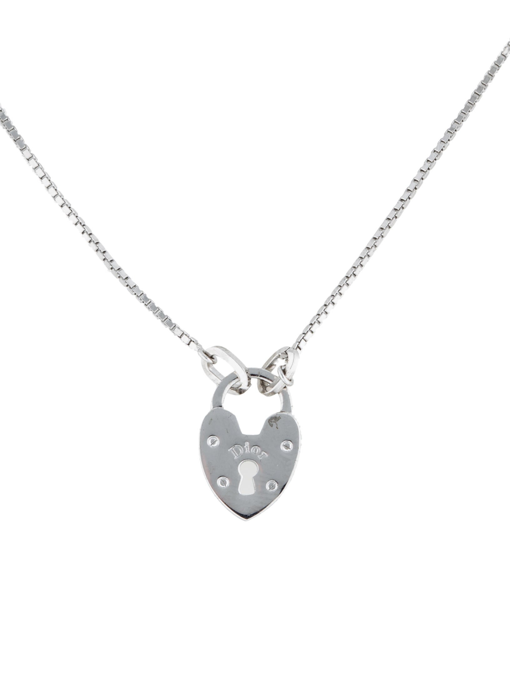 Christian dior heart lock pendant necklace necklaces chr29045 heart lock pendant necklace aloadofball Gallery