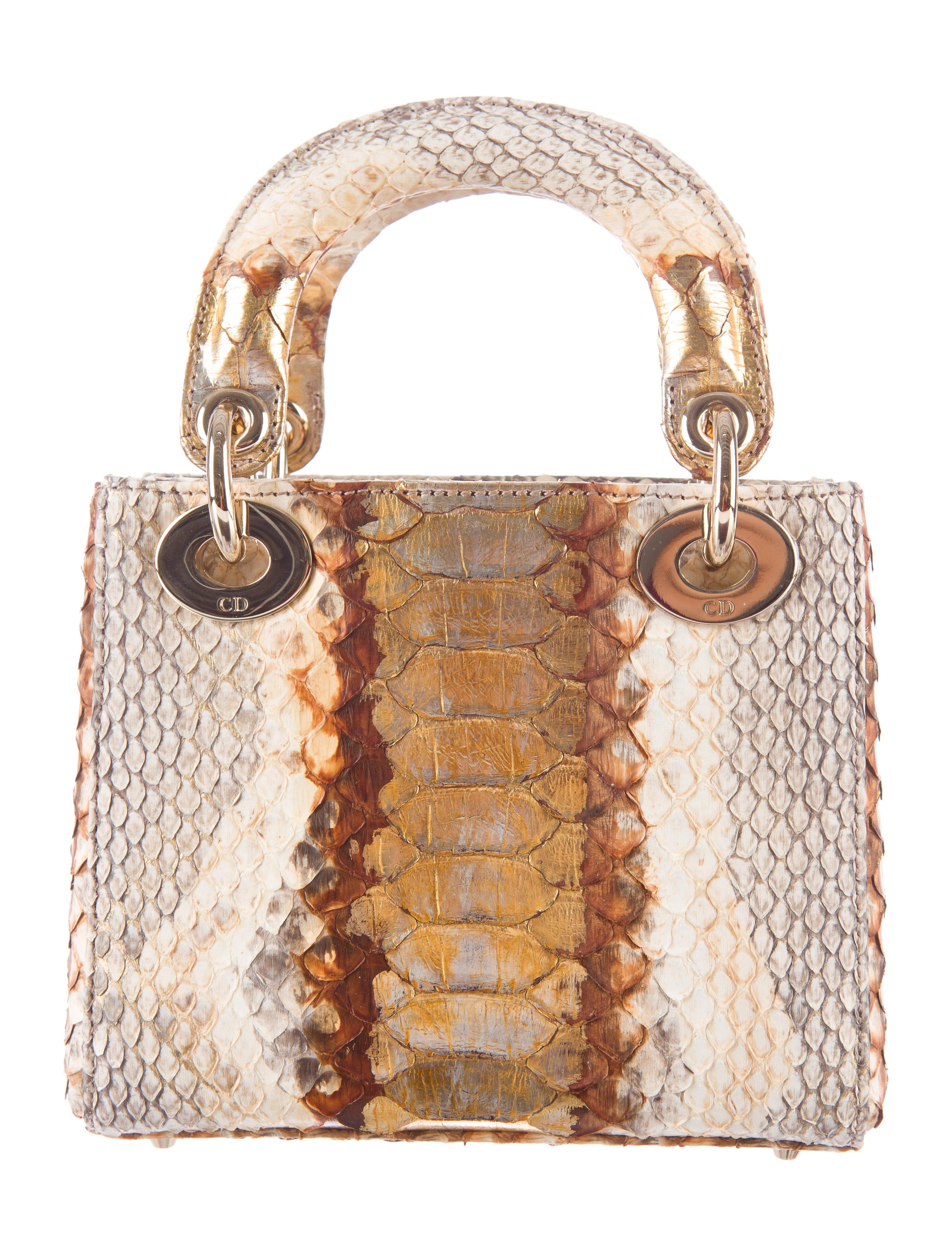 christian dior mini python lady dior handbags chr38377 the realreal. Black Bedroom Furniture Sets. Home Design Ideas