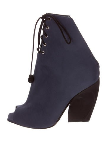 Peep-Toe Canvas Lace-Up Ankle Boots