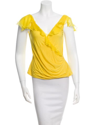 Christian Dior Ruffle-Trimmed Surplice Neck Top None