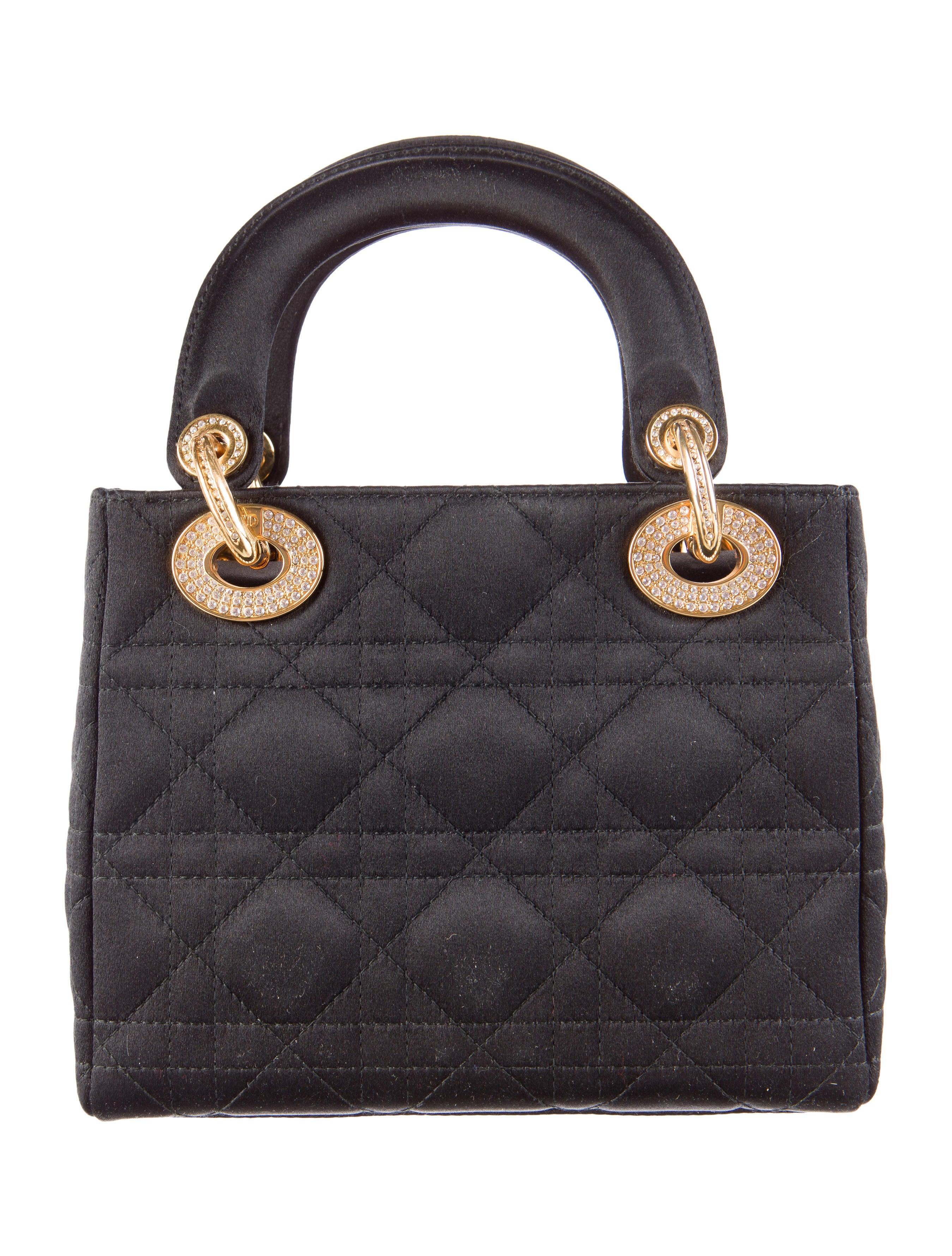 christian dior satin mini lady dior bag handbags chr41659 the realreal. Black Bedroom Furniture Sets. Home Design Ideas