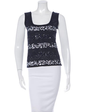 Christian Dior Embellished Open-Knit Top None