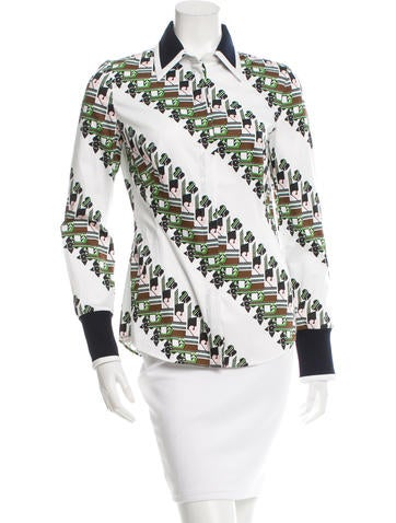 Christian Dior Printed Button-Up Top None