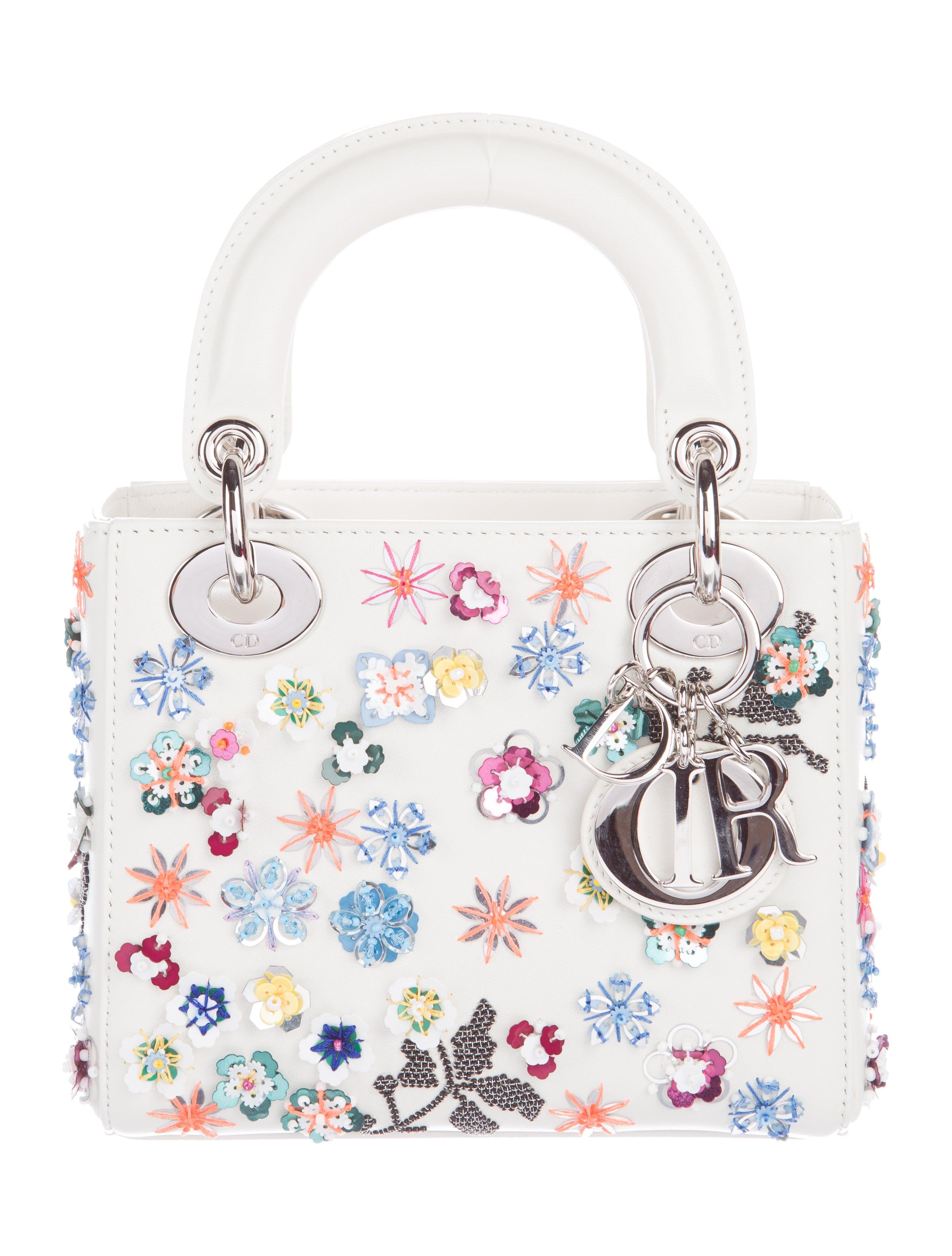 48cf1d74ecaf5 Christian Dior Floral-Sequined Mini Lady Dior Bag - Handbags ...