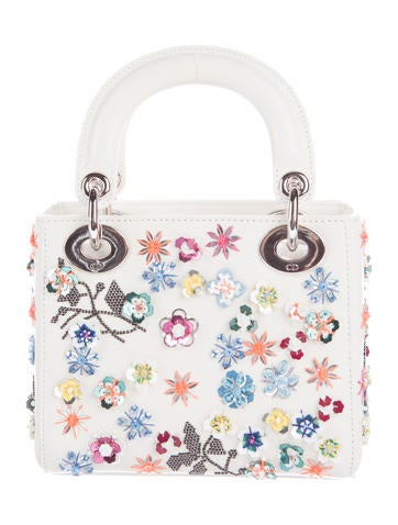 Floral-Sequined Mini Lady Dior Bag