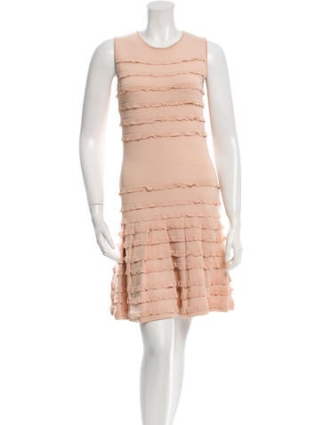 Christian Dior Ruffle-Trimmed Knit Dress None