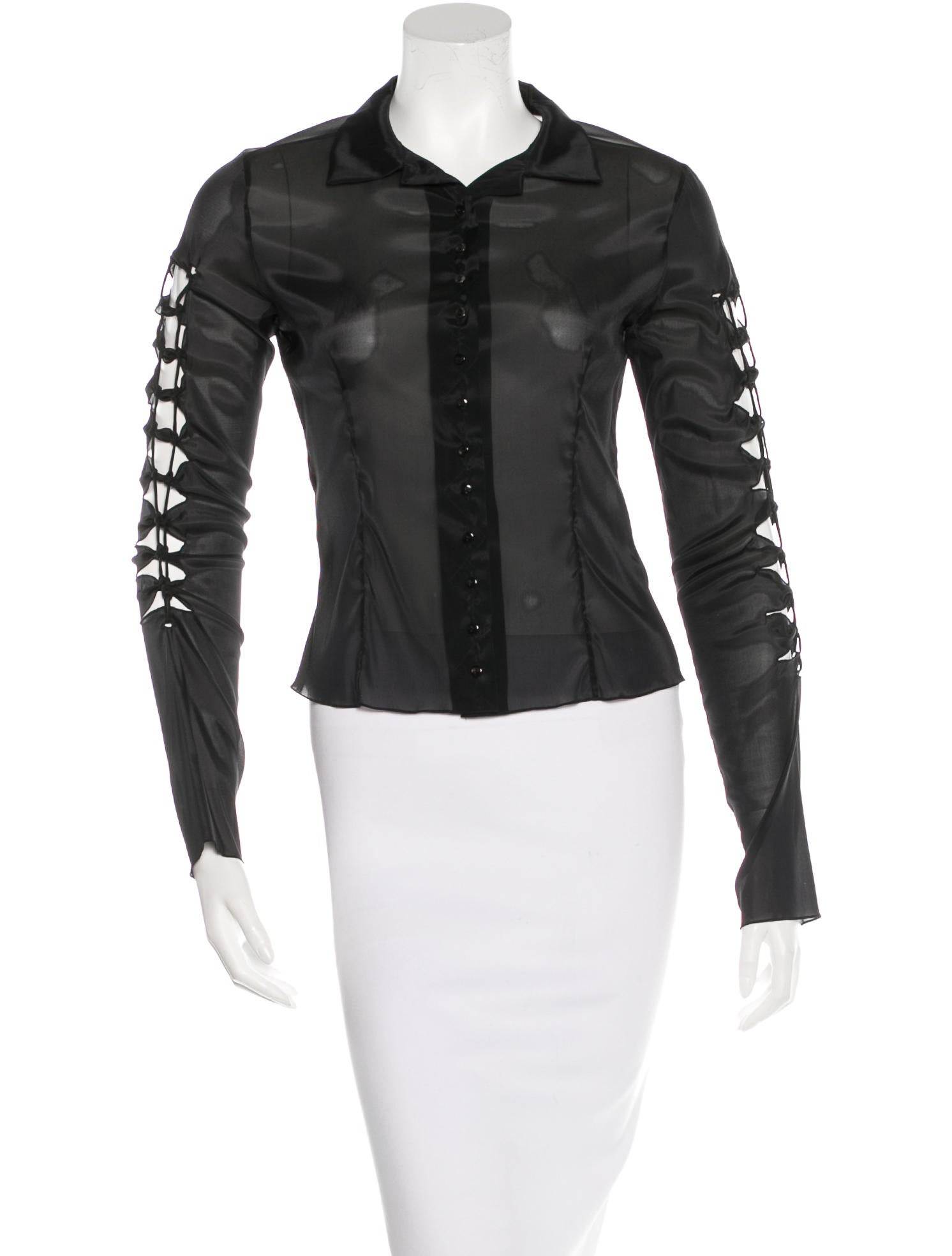 Christian dior cutout button up top clothing chr45234 for Christian dior button up shirt