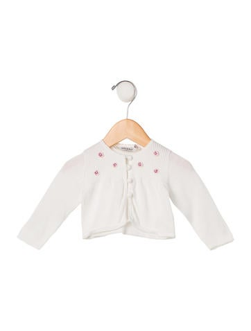 Christian Dior Girls' Embellished Rib Knit Cardigan None