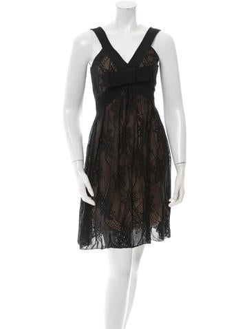 Christian Dior Sleeveless Silk & Lace Dress None